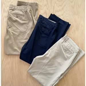 LOT x3 Mens FOOTJOY Stretch Tour Golf Pants Khaki Tan Blue 36 x 30.5